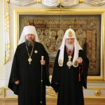 Metropolitan Jonah (left) and Patriarch Kirill in Moscow