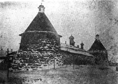 The towers of Solovki Monastery in the winter of about 1930, when it was a concentration camp