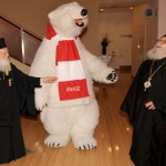 (L to R) Ecumenical Patriarch Bartholomew, the Coca-Cola Polar Bear, and Archbishop Demetrios