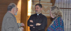 Fr John Cassar, Princeton, New Jersey, pastor of The Mother of God: The Joy of All Who Sorrow Church, superb moderator of the OCL 22nd annual meeting pictured with George Pontikes, Chicago, a panelist and Susan Haikalis of California.