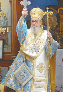 His Emminence Abp. Demetrios blessing a congregation