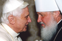 Pope Benedict meets Met. Kyrill in 2007 before he became Patriarch of Moscow
