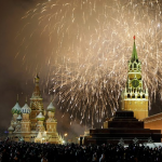 Fireworks over St. Basil's Cathedral and the Kremlin