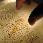 A reader examines a page from the Codex Sinaiticus, the earliest surviving Christian Bible.