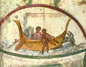The Prophet Jonah being thrown into the Sea. Catacomb of Saint Peter and Saint Marcellino, Rome, Itally, (4th century?).