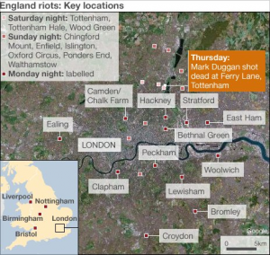 Location of the England riots
