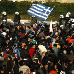 Greeks rioting at Syntagma Square