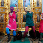 Pussy Riot descrating Christ the Savior Cathedral (Click to enlarge)