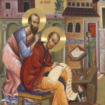 The Holy John Chrysostom interpreting the epistles of the Apostle Paul