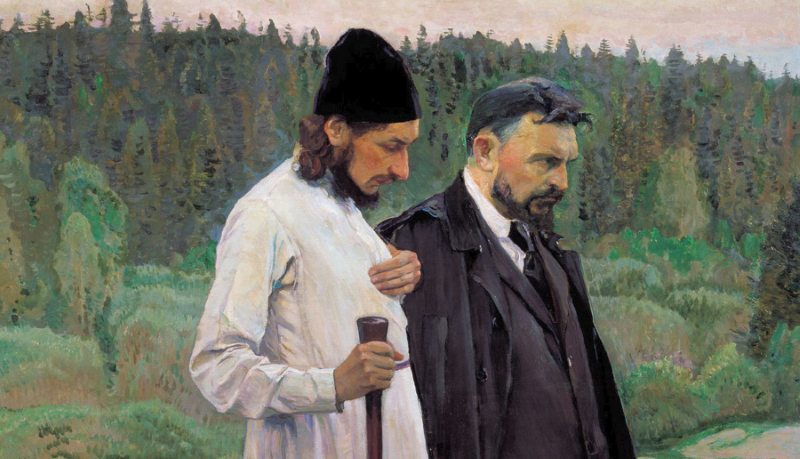 Fr. Pavel Florensky and Sergius Bulgakov (Mikhail Nesterov, 1917) <em>Click to enlarge</em>