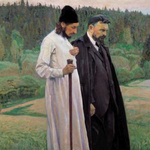 Fr. Pavel Florensky and Sergius Bulgakov (Mikhail Nesterov, 1917)